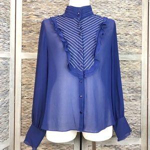 Vintage Liz Claiborne Sheer Royal Blue Blouse 14